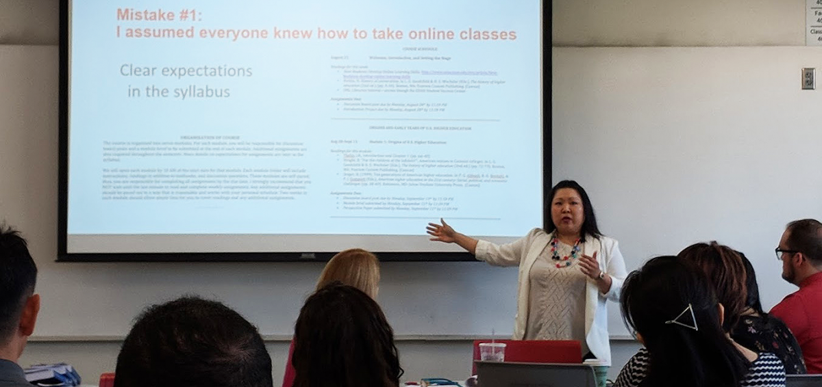 Faculty presenting lessons learned in online teaching at the 2018 Summer Institute for Online Teaching